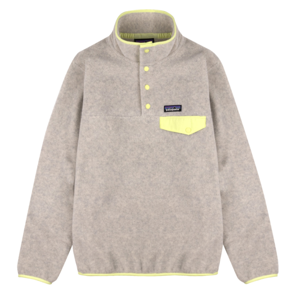 Patagonia Womens Lightweight Synchilla Snap-T Fleece Pullover Oatmeal Heather / Jellyfish Yellow