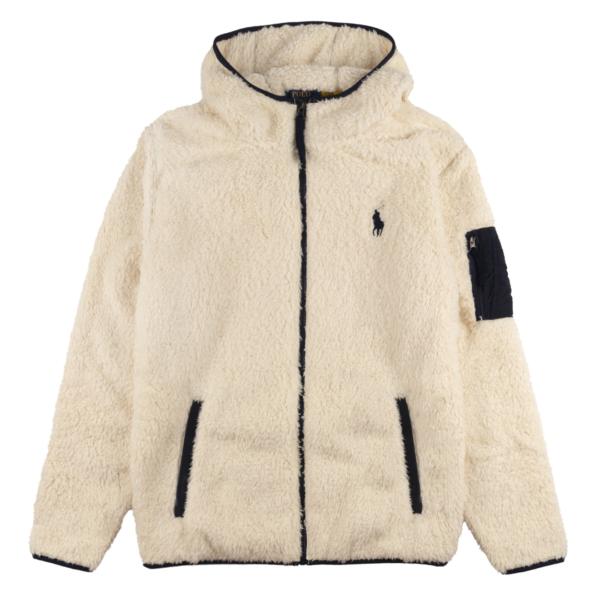 Polo Ralph Lauren Hooded Curly Sherpa Fleece Winter Cream
