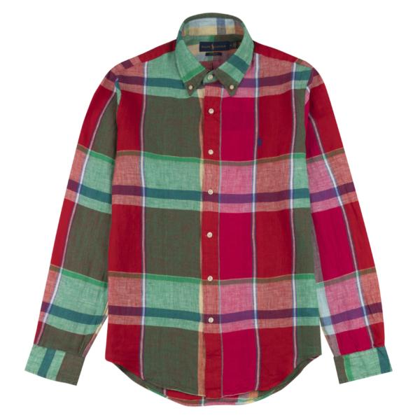 Polo Ralph Lauren L/S Linen Check Shirt Red / Green Multi