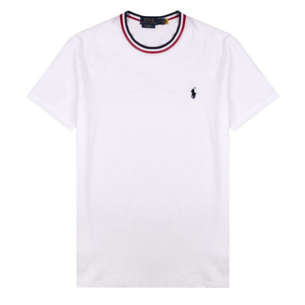 Polo Ralph Lauren Tipped Crew Neck T-Shirt White / Red Blue Tip