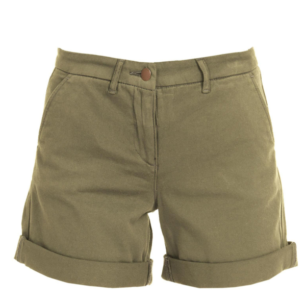 Barbour Womens Essential Chino Short Khaki With Zip Fly & Barbour Branded Button