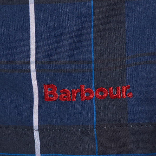 Barbour Tartan Swim Shorts Ink Barbour Branding Label