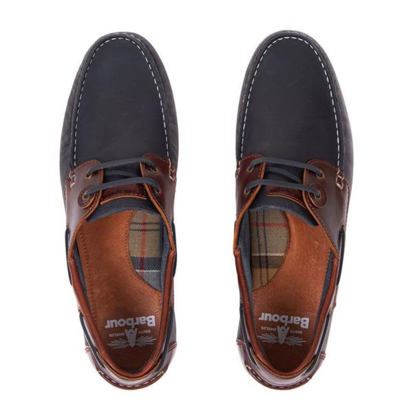 Barbour Capstan Classic Deck Shoes Navy / Brown