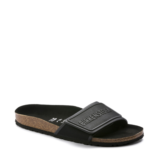 Refreshingly sporty! The casual BIRKENSTOCK Tema stands out with its practical hook-and-loop fastener and is just right for anyone who wishes to combine sporty looks with their day-to-day outfit. The material mix and the large BIRKENSTOCK logo really catch the eye. This version comes in a sporty look and is just the ticket for people with an active lifestyle. It characterizes the sandal's iconic design and the sporting moment. The color-coordinated footbed rounds off the shoe's look of sophistication. The upper is made from skin-friendly microfiber. Anatomically shaped cork-latex footbed Upper: microfiber Footbed lining: microfiber Sole: EVA Details: one strap with an individually adjustable fastener; color-coordinated footbed Made in Germany