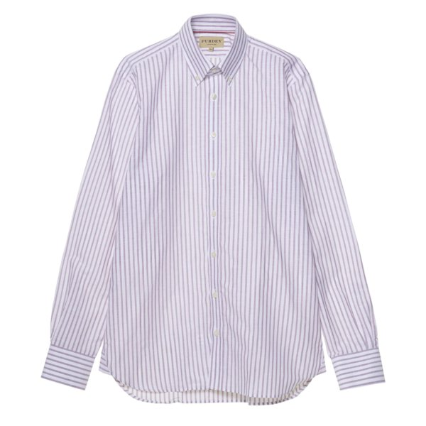 James Purdey Linen Oxford Stripe Button Down Collar Shirt Plum