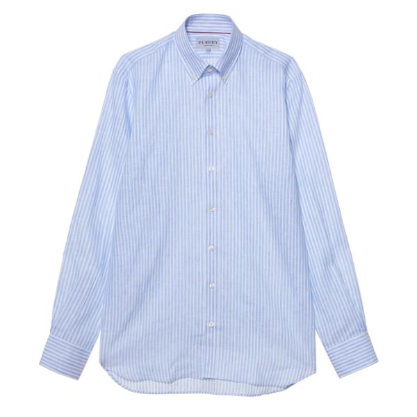 James Purdey Linen Stripe Button Down Collar Shirt Blue