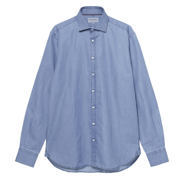 James Purdey Ortica Chambray Shirt Denim Blue