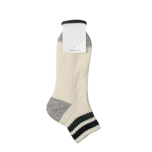 Rototo Coarse Ribbed Oldschool Ankle Socks Black / Dark Green