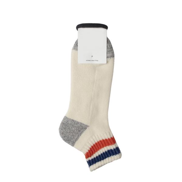 Rototo Coarse Ribbed Oldschool Ankle Socks Blue / Orange