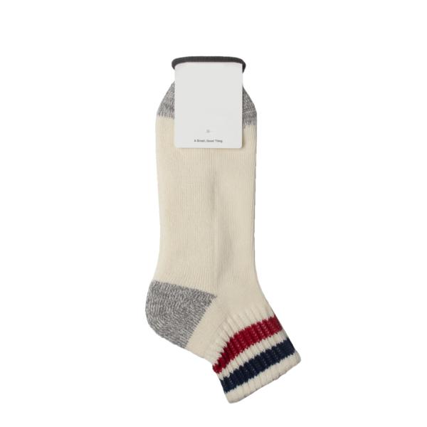 Rototo Coarse Ribbed Oldschool Ankle Socks Dark Blue / Red