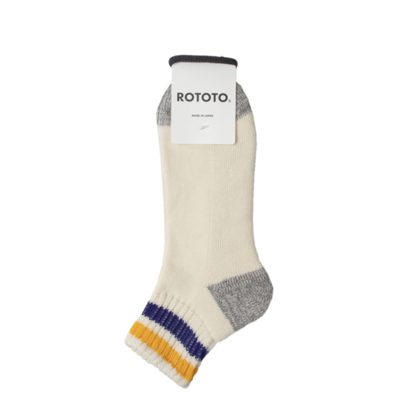 Rototo Coarse Ribbed Oldschool Ankle Socks Yellow / Purple