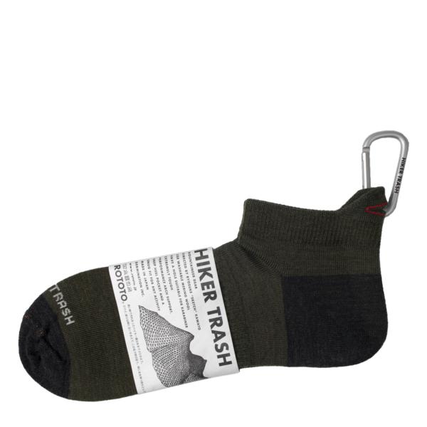 Rototo Hiker Trash Hike and Run Socks Olive / Charcoal
