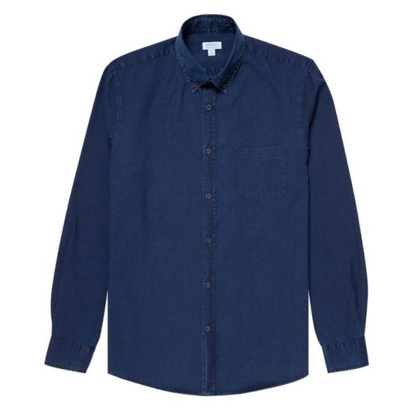 Sunspel Soft Twill Button Down Shirt Indigo
