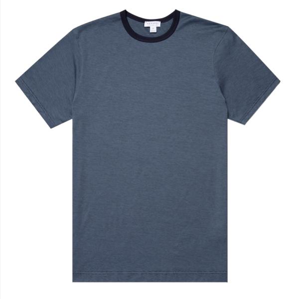 Sunspel Classic Crew T-Shirt Airforce / Navy Narrow Stripe