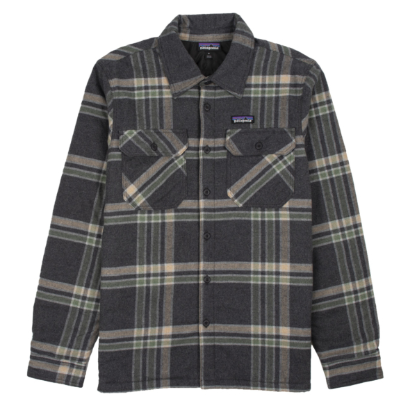 Patagonia Insulated Organic Cotton Midweight Fjord Flannel Shirt Growlers Plaid / Ink Black