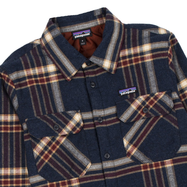 Patagonia Insulated Organic Cotton Midweight Fjord Flannel Shirt Growlers Plaid / Smolder Blue