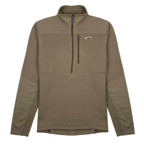 Patagonia Long Sleeved R1 Fitz Roy 1/4 Zip Sage Khaki