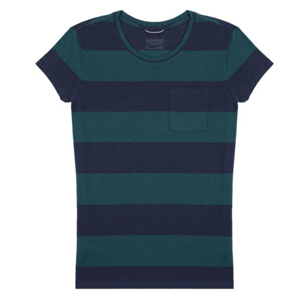 Patagonia Womens Mainstay T-Shirt Anchor Stripe / Dark Borealis Green