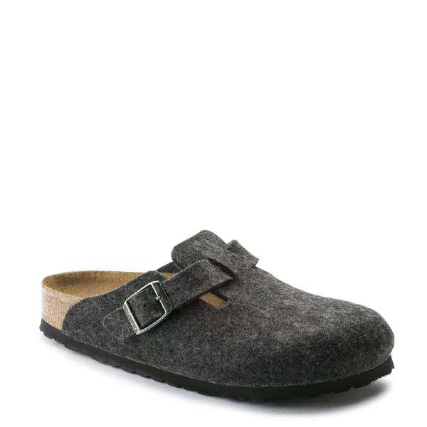 Birkenstock Boston Wool Regular Slippers Anthracite