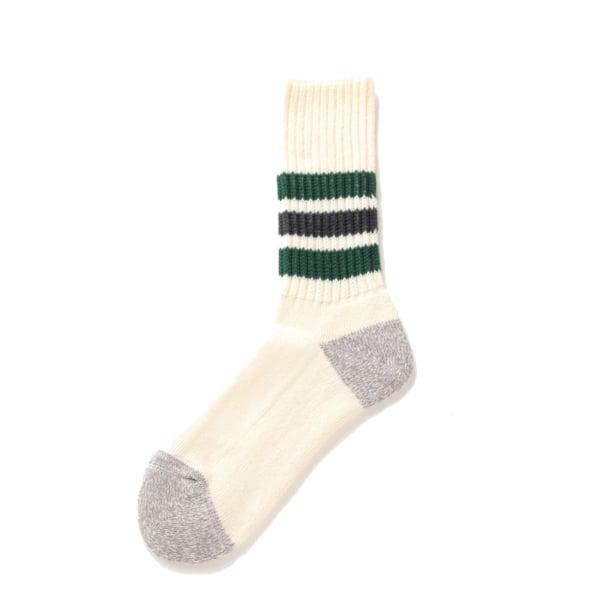 RoToTo Coarse Ribbed Oldschool Crew Socks Green / Charcoal