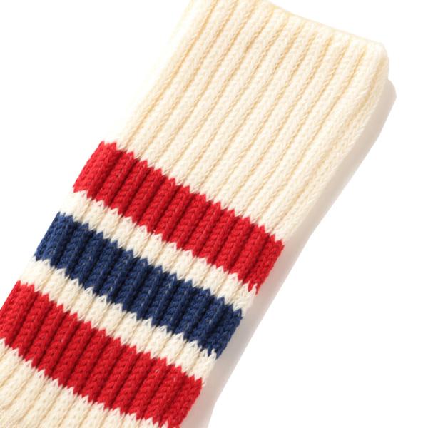 RoToTo Coarse Ribbed Oldschool Crew Socks Red / Blue