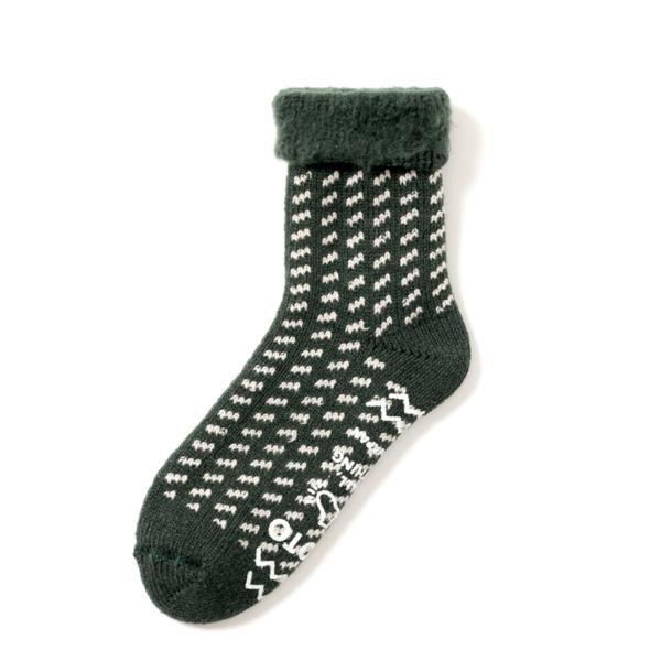 RoToTo Comfy Room Socks Birds Eye Green