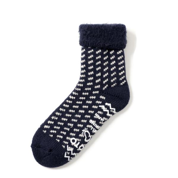 RoToTo Comfy Room Socks Birds Eye Navy