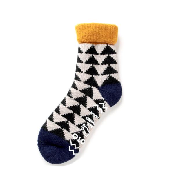 RoToTo Comfy Room Socks Sankaku Gold / Black / Navy