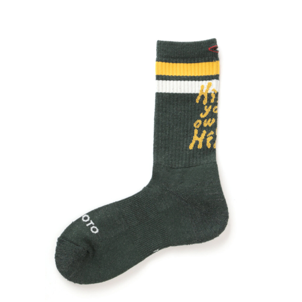 RoToTo H.Y.O.H Hike Trek Crew Socks Dark Green / Yellow / White