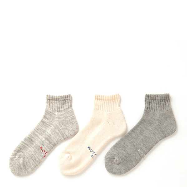 RoToTo Organic Daily 3 Pack Ankle Socks Ecru / Gray