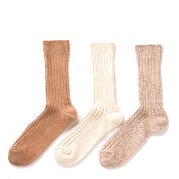 RoToTo Organic Daily 3 Pack Ribbed Crew Socks Ecru / Brown