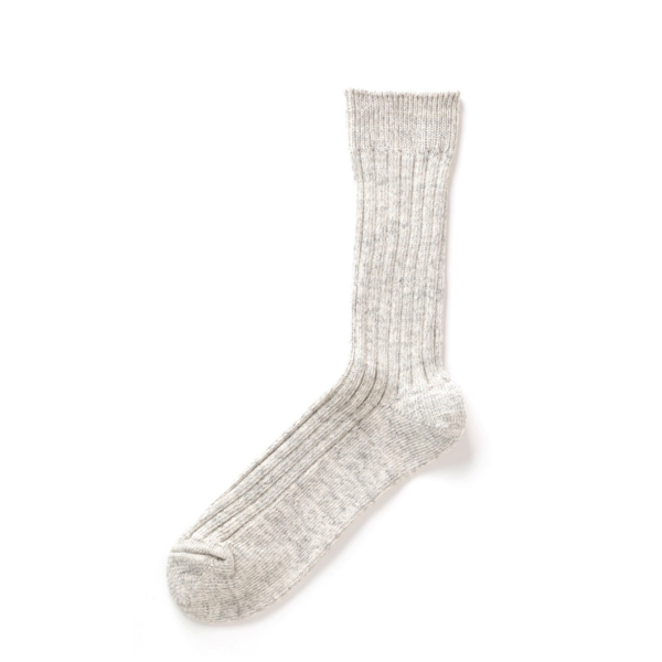 RoToTo Organic Daily 3 Pack Ribbed Crew Socks Ecru / Gray