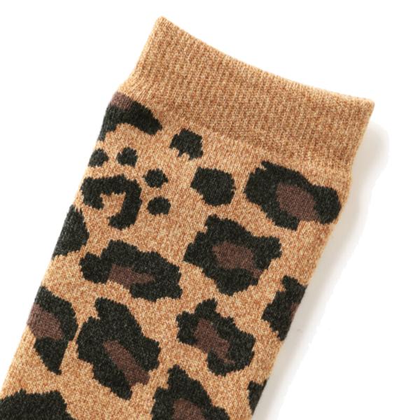 RoToTo Pile Leopard Crew Socks Dark Beige