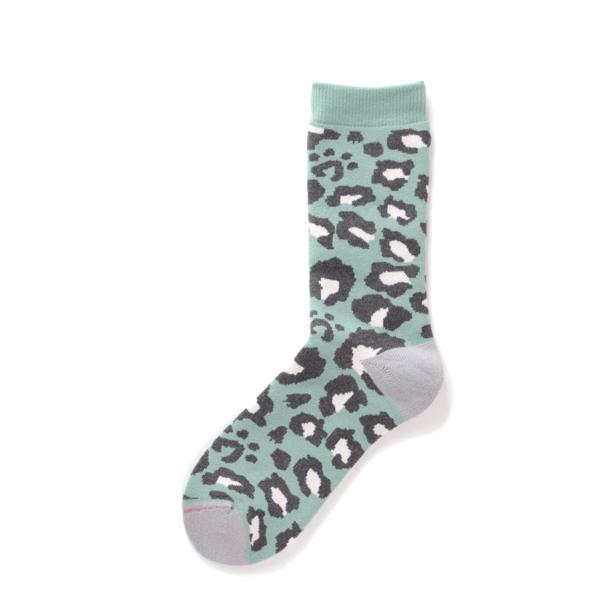 RoToTo Pile Leopard Crew Socks Mint Green