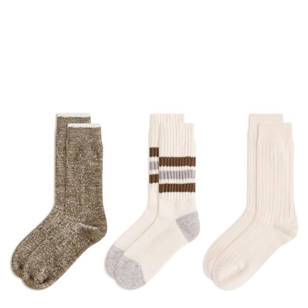 RoToTo x eye_C 3P Socks Ecru / Brown